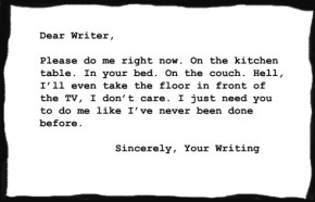 Dear Writer, Please do me right now. On the kitchen table. In your bed. On the couch. Hell, I'll even take the floor in front of the TV, I don't care. I just need you to do me like I've never been done before. Sincerely, Your Writing